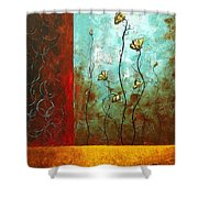 Abstract Art Original Poppy Flower Painting Subtle Changes By Madart Shower Curtain