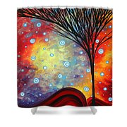Abstract Art Whimsical Landscape Painting Morning Bliss By Madart Shower Curtain