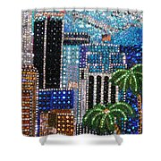 Los Angeles. Rhinestone Mosaic With Beadwork Shower Curtain