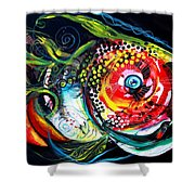 Abstract Baboon Fish Shower Curtain
