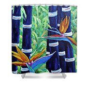 Abstract Bamboo And Birds Of Paradise 04 Shower Curtain