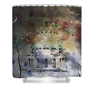 Abstract Birds In A Swirl Of Sky Colors Shower Curtain