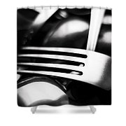 Abstract Black And White Photo Of Mixed Silver Forks Shower Curtain