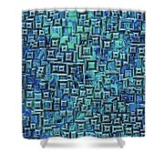 Abstract Blue And Green Pattern Shower Curtain