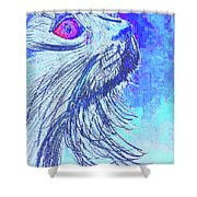 Abstract Blue Cat Shower Curtain