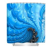 Abstract Blue Winter Fractal Shower Curtain