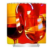 Abstract Bottle Of Wine And Glasses Of Red And White Shower Curtain