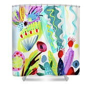 Abstract Cactus And Flowers Shower Curtain