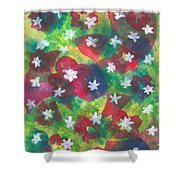 Abstract Circles With Flowers Shower Curtain