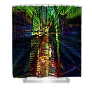 Abstract City In Green Shower Curtain