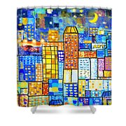 Abstract City Shower Curtain