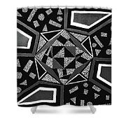 Abstract Cobblestone Blk/wht. Shower Curtain