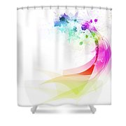 Abstract Colorful Curved Shower Curtain by Setsiri Silapasuwanchai