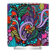 Abstract Colorful Floral Design Shower Curtain