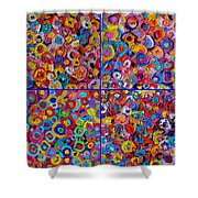 Abstract Colorful Flowers 4 Shower Curtain