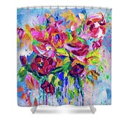 Abstract Colorful Flowers Shower Curtain