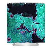 Abstract Corrosive Metal Background With Turquoise Paint Cracks Shower Curtain