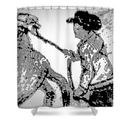 Abstract Cowboy And Horse Shower Curtain