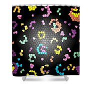 Abstract Creation With Small Shapes Colourful Shower Curtain