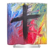 Abstract Cross Shower Curtain