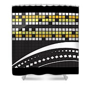 Abstract Crossword Puzzle Squares On Black Shower Curtain
