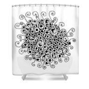 Abstract Curly Design In Black And White Shower Curtain