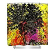 Abstract Dandelion Stained Glass Shower Curtain
