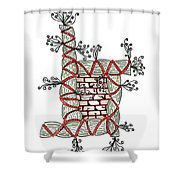 Abstract Design Of Stumps And Bricks Shower Curtain