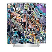 Abstract Digital Doodle 2 Shower Curtain