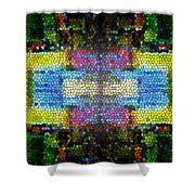 Abstract Digital Shapes Colourful Stained Glass Texture Shower Curtain