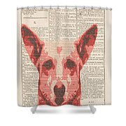 Abstract Dog On Dictionary Shower Curtain