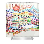Abstract Drawing Three Shower Curtain