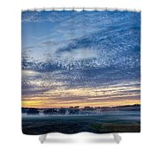 Abstract Early Morning Sunrise Over Farm Land Shower Curtain