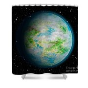 Abstract Earth Shower Curtain