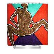 Abstract Ebony Nude Sitting Shower Curtain