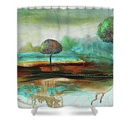 Abstract Fantasy Landscape Shower Curtain