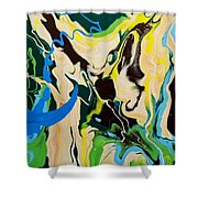 Abstract Flow Green-blue Series No.1 Shower Curtain