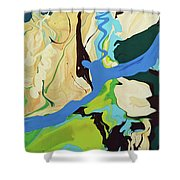 Abstract Flow Green-blue Series No.2 Shower Curtain