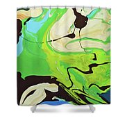 Abstract Flow Green-blue Series No.3 Shower Curtain