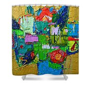 Abstract Flowers On Gold Contemporary Impressionist Palette Knife Oil Painting By Ana Maria Edulescu Shower Curtain