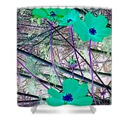 Abstract Flowrs In Green And Blue Shower Curtain
