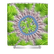 Abstract Fractal Art Greenery Rose Quartz Serenity Shower Curtain