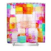 Abstract Geometric Colorful Pattern Shower Curtain by Setsiri Silapasuwanchai