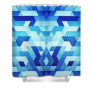 Abstract Geometric Triangle Pattern Futuristic Future Symmetry In Ice Blue Shower Curtain