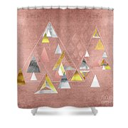 Abstract Geometric Triangles, Gold, Silver Rose Gold Shower Curtain