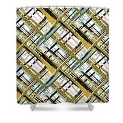 Abstract Gold Lines Shower Curtain