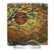 Abstract Golden Landscape Art Original Painting Peaceful Awakening I Diptych Set By Megan Duncanson Shower Curtain