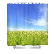 Abstract Green Field And Blue Sky Shower Curtain