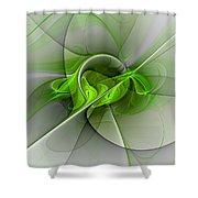 Abstract Green Fractal Art Shower Curtain