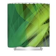 Abstract Green Vector Background Banner, Transparent Wave Lines  Shower Curtain